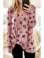 cheap -Women's Blouse Shirt Heart Long Sleeve Print V Neck Tops Basic Top Blushing Pink Green Gray