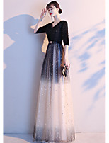 cheap -A-Line Elegant Sparkle Prom Formal Evening Dress V Neck Half Sleeve Floor Length Lace Satin with Sequin 2020