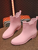 cheap -Women's Boots Block Heel Round Toe Daily Walking Shoes PVC Solid Colored Black Pink Beige / Mid-Calf Boots