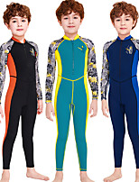 cheap -Boys' Rash Guard Dive Skin Suit Diving Suit Breathable Quick Dry Long Sleeve Swimming Surfing Water Sports Patchwork Summer / Stretchy / Kid's