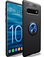 cheap -galaxy s10 case, slim fit heavy duty soft tpu case with metal finger ring grip holder kickstand [support magnetic car mount] for samsung galaxy s10,black+blue ring