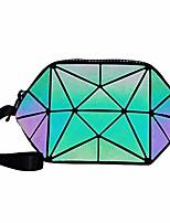 cheap -luminous womens handbag makeup bag lattice design geometric bag unique purses cell phone purse holographic geometric luminous purses foldable makeup bag (green)