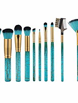 cheap -10pcs crack pattern wooden handle face foundation blush cosmetic lightweight portable durable makeup brushes