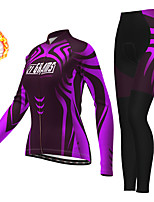 cheap -21Grams Women's Long Sleeve Cycling Jersey with Tights Winter Fleece Polyester Purple Bike Clothing Suit Thermal Warm Fleece Lining Breathable 3D Pad Warm Sports Graphic Mountain Bike MTB Road Bike