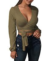 cheap -women's sexy deep v neck long sleeve bandage cross wrap tie up basic crop top armygreen