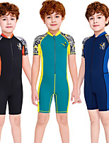 cheap -Boys' Rash Guard Dive Skin Suit Diving Suit Breathable Quick Dry Short Sleeve Front Zip - Swimming Surfing Water Sports Patchwork Summer / Stretchy / Kid's