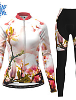 cheap -21Grams Women's Long Sleeve Cycling Jersey with Tights Winter Fleece Polyester Pink Floral Botanical Bike Clothing Suit Thermal Warm Fleece Lining Breathable 3D Pad Warm Sports Graphic Mountain Bike