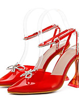 cheap -Women's Heels High Heel Pointed Toe Sexy Daily Walking Shoes PU Rhinestone Color Block Almond Red