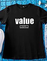 cheap -Women's T-shirt Letter Round Neck Tops 100% Cotton Basic Basic Top White Black Red