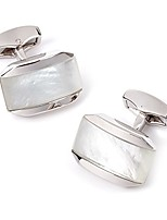 cheap -moonlight cufflinks with mother of pearl combined with a cabochan of quartz in a rhodium silver tonneau case, white