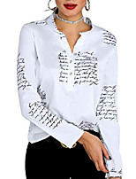 cheap -women's shirt letter print stand collar long sleeve button up casual blouse m white