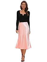cheap -womens high waist midi skirt fishtail silky satin skirt work party pencil bias cutting skirt (baby pink, m)