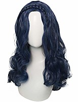 cheap -girls' long dark blue wavy wig synthetic wig for costume party halloween cosplay - kids