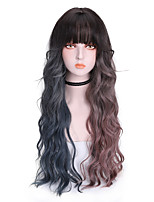 cheap -Synthetic Wig Curly With Bangs Wig Long Brown Synthetic Hair 24 inch Women's Cool Color Gradient Fluffy Brown