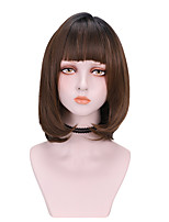 cheap -Synthetic Wig Curly With Bangs Wig Medium Length Light Brown Dark Brown Brown Black Synthetic Hair 14 inch Women's Comfy Fluffy Black Brown