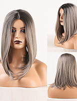 cheap -Cosplay Costume Wig Synthetic Wig Wavy Natural Straight Bob Middle Part Wig Long Ombre Grey Synthetic Hair Women's Odor Free Fashionable Design Soft Gray / Heat Resistant