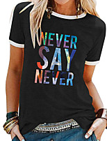cheap -Women's T-shirt Letter Patchwork Print Round Neck Tops Basic Basic Top White Black Blue