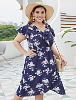 cheap -Women's A-Line Dress Knee Length Dress - Short Sleeve Print Patchwork Print Summer V Neck Casual Boho vacation dresses Loose 2020 Blue XL XXL 3XL 4XL