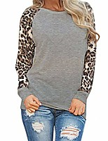 cheap -womens leopard print t-shirts trendy plus size long sleeve o-neck solid loose patchwork tops knits tee gray