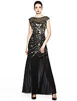 cheap -A-Line Elegant Vintage Holiday Party Wear Dress Jewel Neck Sleeveless Floor Length Spandex Tulle with Sequin Embroidery 2020