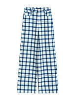 cheap -Women's Basic Streetwear Comfort Daily Going out Wide Leg Pants Pants Plaid Checkered Full Length Pocket Blue