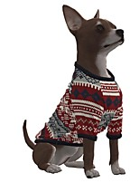 cheap -Dog Shirt / T-Shirt Stripes Snowflake Casual / Sporty Fashion Christmas Casual / Daily Winter Dog Clothes Puppy Clothes Dog Outfits Breathable Red Costume for Girl and Boy Dog Polyster S M L XL