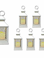 """cheap -farm house lanterns {6 pc set} 10"""" decorative lanterns with flameless led lighted candle, 5hr timer, weather resistant - decorative outdoor lanterns - white"""