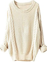 cheap -women's cashmere oversized loose knitted crew neck long sleeve winter warm wool pullover long sweater dresses tops beige