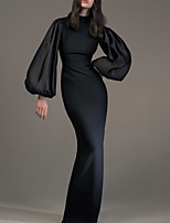 cheap -Sheath / Column Elegant Minimalist Wedding Guest Formal Evening Dress High Neck Long Sleeve Floor Length Spandex with Sleek 2020