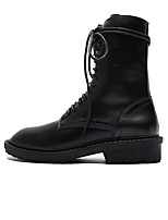cheap -Women's Boots Chunky Heel Round Toe Casual Daily Walking Shoes PU Black / Mid-Calf Boots