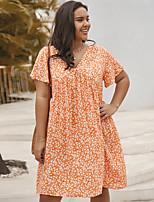 cheap -Women's Swing Dress Knee Length Dress - Short Sleeve Print Ruffle Patchwork Print Summer V Neck Plus Size Casual Sexy Holiday Loose 2020 Black Blue Yellow Orange XL XXL 3XL 4XL