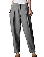 cheap -women's linen pants elastic waist long tapered pants trousers slacks gray xx-large