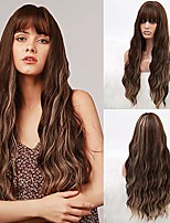 cheap -long wavy with bangs synthetic wave fiber wig chestnut brown hair with highlights natural curly heat resistant full machine made wig for women daily cosplay party