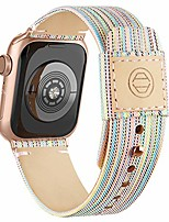 cheap -fabric cloth bands compatible with apple watch 44mm 42mm 40mm 38mm, canvas strap with soft genuine leather lining and snap button for apple iwatch series 6/5/4/3/2/1 se,rainbow 42/44mm