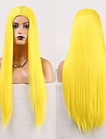 cheap -Cosplay Costume Wig Synthetic Wig Straight Natural Straight Middle Part Wig Long Yellow Synthetic Hair Women's Odor Free Fashionable Design Soft Yellow / Heat Resistant