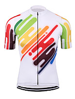 cheap -21Grams Men's Short Sleeve Cycling Jersey Polyester White Bike Jersey Top Mountain Bike MTB Road Bike Cycling Breathable Quick Dry Reflective Strips Sports Clothing Apparel / Stretchy / Athleisure