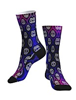cheap -Crew Socks Compression Socks Calf Socks Athletic Sports Socks Cycling Socks Men's Women's Bike / Cycling Lightweight Breathable Anatomic Design 1 Pair Graphic Skull Cotton Purple S M L / Stretchy
