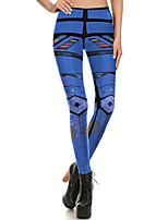 cheap -Women's Sporty Comfort Gym Yoga Leggings Pants Patterned Full Length Blue