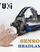 cheap -sensor headlamp zoomable led headlamp usb rechargeable headlamp headlight focus adjustable head lamp flashlight for camping, miners, runners sport (sensor headlamp + 2 batteries)