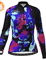 cheap -21Grams Women's Long Sleeve Cycling Jersey Winter Fleece Blue Camo / Camouflage Bike Top Mountain Bike MTB Road Bike Cycling Fleece Lining Warm Sports Clothing Apparel / Stretchy / Athleisure