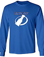 cheap -long sleeve blue stanley cup lightning logo t-shirt adult