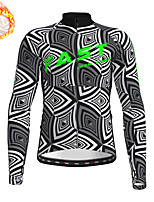 cheap -21Grams Men's Long Sleeve Cycling Jersey Winter Fleece Polyester Black / White Bike Jersey Top Mountain Bike MTB Road Bike Cycling Fleece Lining Warm Quick Dry Sports Clothing Apparel / Stretchy