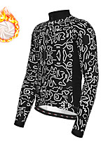 cheap -21Grams Men's Long Sleeve Cycling Jacket Winter Fleece Polyester Black Geometic Bike Jacket Top Mountain Bike MTB Road Bike Cycling Thermal Warm Fleece Lining Breathable Sports Clothing Apparel