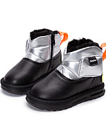 cheap -Boys' Girls' Boots Snow Boots Cowhide Little Kids(4-7ys) Daily Walking Shoes Black Silver Fall Winter / Booties / Ankle Boots / Rubber