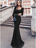 cheap -Mermaid / Trumpet Elegant Vintage Party Wear Formal Evening Dress Scoop Neck Long Sleeve Floor Length Jersey with Sash / Ribbon Sequin 2020