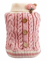 cheap -pet soft warm turtleneck twist buttons sweater, cute dog puppy cat cozy winter clothes costume,decorated with mushrooms - pink l