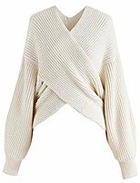 cheap -women's comfy casual off white crisscross ribbed soft knit sweater pullover