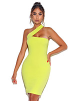 cheap -A-Line Sexy bodycon Party Wear Cocktail Party Dress One Shoulder Sleeveless Knee Length Spandex with Sleek 2020
