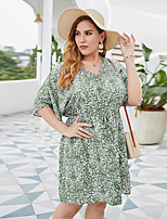 cheap -Women's Swing Dress Knee Length Dress - Short Sleeve Print Patchwork Button Print Summer V Neck Plus Size Casual Sexy Holiday Loose 2020 Wine Green XL XXL 3XL 4XL