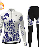 cheap -21Grams Women's Long Sleeve Cycling Jersey with Tights Winter Fleece Polyester White Blue Bike Clothing Suit Thermal Warm Fleece Lining Breathable 3D Pad Warm Sports Graphic Mountain Bike MTB Road